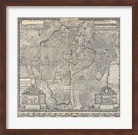 Framed 1652 Gomboust Map of Paris, France