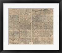 Framed 1739 Bretez - Turgot View and Map of Paris, France