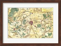 Framed 1780 Bonne Map of the Environs of Paris, France