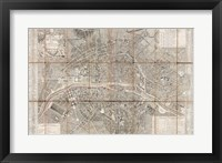 Framed 1797 Jean Map of Paris and the Faubourgs, France