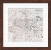 Framed 1852 Andriveau Goujon Map of Paris and Environs, France