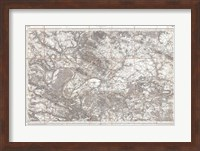 Framed 1852 Depot de Guerre Map of Paris and its Environs, France