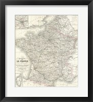 Framed 1852 Levasseur Map of France