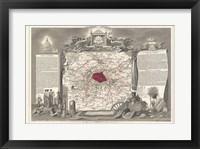 1852 Levasseur Map of the Department de la Seine Framed Print