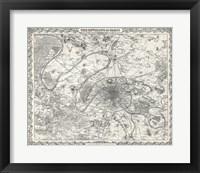 Framed 1855 City Plan of Paris, France