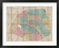 Framed 1867 Logerot Map of Paris, France