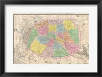 Framed 1867 colored Logerot Map of Paris, France