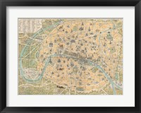 Framed 1890 Guilmin Map of Paris, France with Monuments