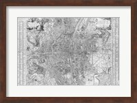 Framed Jaillot map of Paris 1762