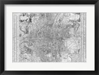 Framed Jaillot map of Paris 1762