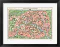 Framed Map of Paris circa 1931 including monuments