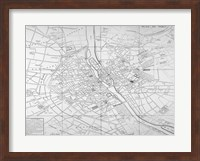 Framed Paris map circe 1739