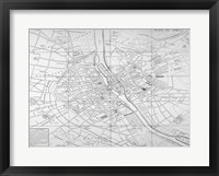 Framed Paris map circe 1739