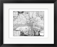 Plan de Paris - gray Framed Print