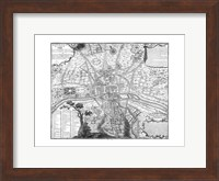 Framed Plan de Paris - black and white