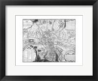 Plan de Paris - black and white Framed Print