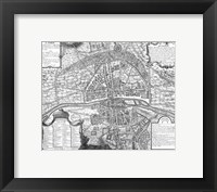 Framed Plan de Paris - black and white map