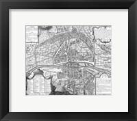 Plan de Paris - black and white map Framed Print