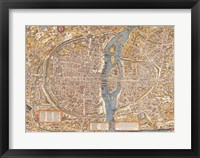 Framed Plan de Paris map