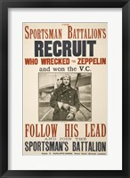 Framed Sportsman Battalion's Recruit Poster