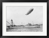 Framed U.S.S. Patoka and Shenandoah Blimp Overhead