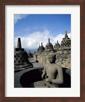 Framed Buddha statue in front of a temple, Borobudur Temple, Java, Indonesia