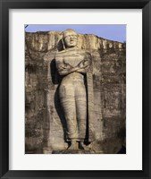 Statue of Buddha carved in a rock, Gal Vihara, Polonnaruwa, Sri Lanka Framed Print