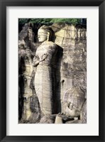 Statues of Buddha carved in rocks, Gal Vihara, Polonnaruwa, Sri Lanka Framed Print