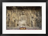 Buddha Statue in a Cave, Longmen Caves, Luoyang, China Framed Print