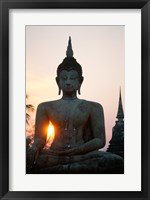 Framed Seated Buddha at Sunset, Wat Mahathat, Sukhothai, Thailand