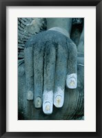 Hands of a giant statue of Buddha, Wat Si Chum, Sukhothai, Thailand Framed Print