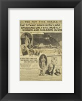 Framed New York Herald front page about the Titanic Disaster