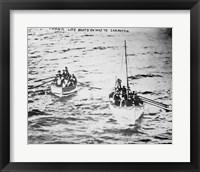 Framed Titanic Life Boats on Way to Carpathia