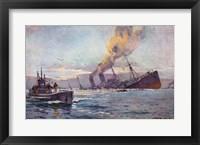 U-boat Sinking a Troop Transport Ship Framed Print
