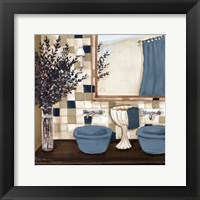 Framed Blue zen bath I