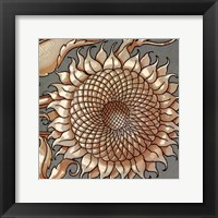 Framed Sunflower Woodblock IV