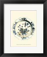 Framed Blue & White Porcelain Plate I