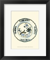 Framed Blue & White Porcelain Plate IV