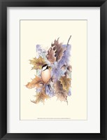 Framed Chickadee and Oak Leaves