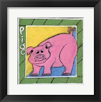 Framed Whimsical Pig