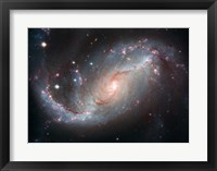 Framed Galaxy's Star Forming Clouds and Dark Bands of Interstellar Dust