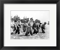 Framed Gen. Douglas MacArthur Wades Ashore During Initial Landings at Leyte, Philippine Islands