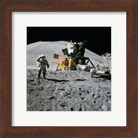 Framed Apollo 15 Lunar Module Pilot James Irwin Salutes the U.S. Flag