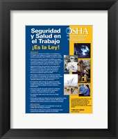 Framed OSHA Job Safety and Health Spanish Version 2012