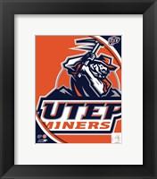 Framed University of Texas El Paso Miners Team Logo