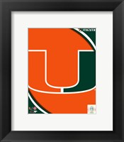 Framed University of Miami Hurricanes Team Logo