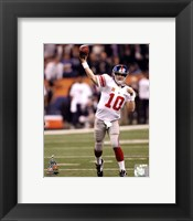 Framed Eli Manning Super Bowl XLVI Action