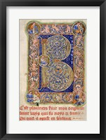 Framed Illuminated Manuscript, Psalter. Inhabited Initial B of Psalm 1