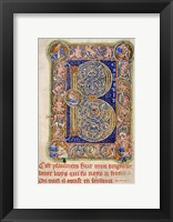 Framed Illuminated Manuscript, Psalter. Inhabited Initial B of Psalm 1