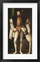 Framed Emperor Carlos V with a Dog